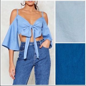 3/$50 NWT Love Tree chambray crop tie top L